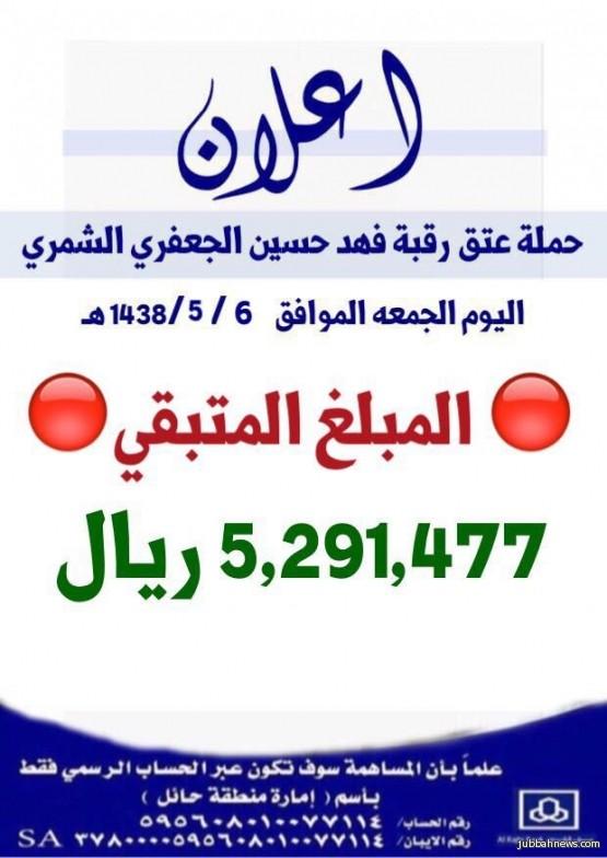 لجان حملة سجين حائل تعلن تبقى 5 ملايين ريال ويغلق الحساب ويحثون الجميع للمساهمة